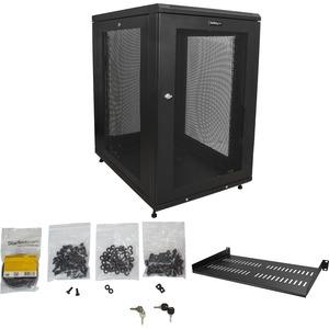 """StarTech.com 18U 19"""" Server Rack Cabinet - 4 Post Adjustable Depth 2-30"""" Mobile Locking Vented IT/Data Network Enclosure w"""