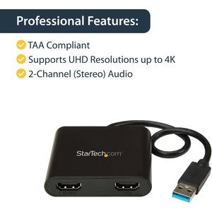 StarTech.com Adaptador Gráfico Externo USB 3.0 a 2 Puertos HDMI 4K - Adaptador de Vídeo Externo 4K para 2 Monitores - 1 x