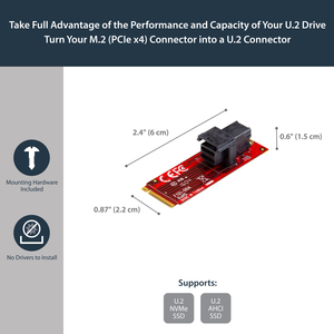 StarTech.com U.2 to M.2 Adapter for U.2 NVMe SSD - M.2 PCIe x4 Host Interface - U.2 SSD SFF-8643 Adapter - M2 PCIe Adapter