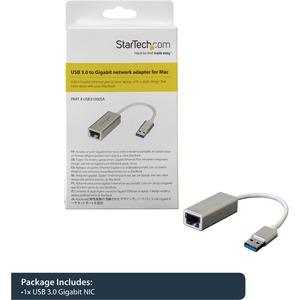 StarTech.com Adattatore di rete USB 3.0 a Ethernet Gigabit - Argento - USB 3.1 - 1 Porta(e) - 1 - Coppia incrociata