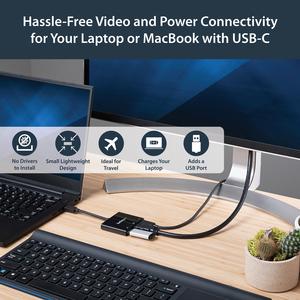 StarTech.com Adaptador Multifunción USB-C a HDMI 4K - Replicador de Puertos con Entrega de Potencia y Puerto USB-A - 1 x T