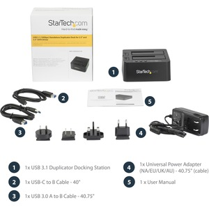 StarTech.com Drive Dock - USB 3.1 Type B Host Interface - UASP Support External - Black - Hot Swappable Bays - 2 x HDD Sup