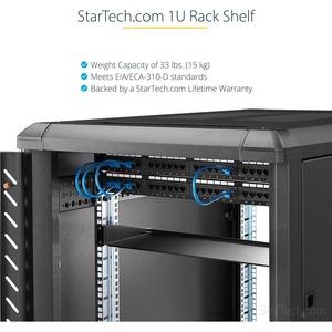 """1U Server Rack Mount Shelf - 7in Deep Fixed Steel Universal Tray for 19"""" AV, Data & Network Equipment Rack/ Cabinet - 33lb"""