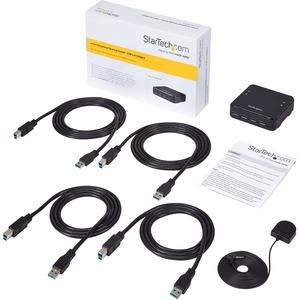 StarTech.com Switch Conmutador USB 3.0 4x4 para Compartir Dispositivos Periféricos. Tasa de transferencia (máx): 5 Gbit/s,