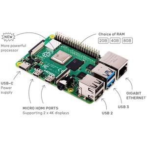 Raspberry Pi Single Board Computer for LCD Display, Monitor - Module - Red, White - Broadcom - Cortex A72 - BCM2711 - Quad