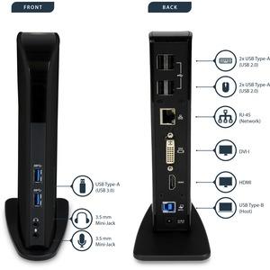 StarTech.com USB 3.0 Docking Station - Dual Monitor HDMI and DVI - Ethernet - Audio - Universal Docking Station - Port Rep