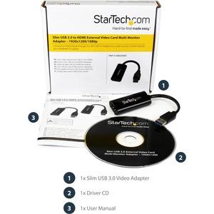 StarTech.com Adattatore da USB 3.0 a HDMI - 1080p - Compatto convertitore video da USB Type-A a HDMI per monitor - Nero -