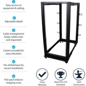 StarTech.com 25U Adjustable Depth Open Frame 4 Post Server Rack Cabinet - w/ Casters / Levelers and Cable Management Hooks