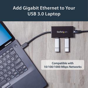 Hub USB 3.0 de Aluminio con Cable - Concentrador de 3 Puertos USB con Adaptador de Red Ethernet Gigabit StarTech.com ST330