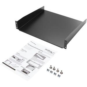 """StarTech.com 2U Server Rack Mount Shelf - 15.7in Deep Steel Universal Cantilever Tray for 19"""" Network & AV Equipment Rack/"""