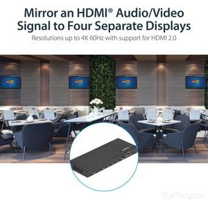 StarTech.com Splitter HDMI - de 4 Puertos - 4K 60Hz - Divisor HDMI - Multiplicador HDMI - 4096 x 2160 - 5m Distancia máxim