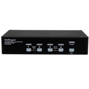 StarTech.com 4 Port High Resolution USB DVI Dual Link KVM Switch with Audio and USB 2.0 Hub - 4 Computer(s) - 1 Local User