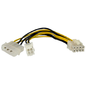 StarTech.com 6in 4 Pin to 8 Pin EPS Power Adapter with LP4 - F/M - For Motherboard - ATX / EPS, LP4 - 12 V DC