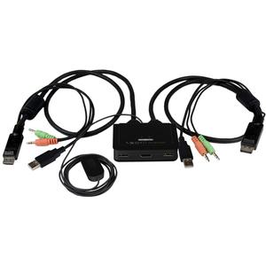 StarTech.com Conmutador Switch KVM 2 puertos HDMI® USB Audio con Cables Integrados - 1080p - 2 Ordenador(es) - 1 Usuarios