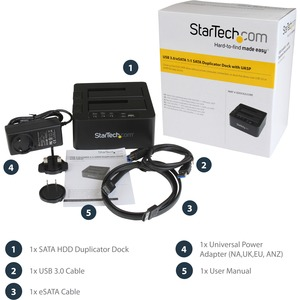 StarTech.com Base USB 3.0 y eSATA Copiadora de Unidades de Disco SATA - Clonador Autónomo SATA de 6Gbps para Copiado de Al