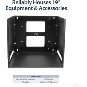 StarTech.com 8U Wall-Mount Server Rack with Built-in Shelf - Solid Steel - Adjustable Depth 30,5cm to 18in - 34.11 kg Maxi