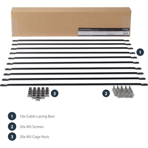 StarTech.com Cable Lacing Bar - 10 Pack - 75 degrees - 4in offset - Horizontal Cable Management Bar - Rack Cable Organizer