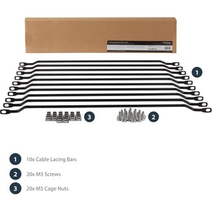 StarTech.com Cable Lacing Bar - 10 Pack - 75 degrees - 2in offset - Horizontal Cable Management Bar - Rack Cable Organizer
