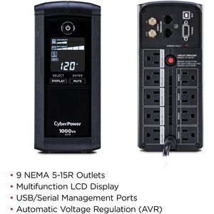 CyberPower UPS Systems CP1000AVRLCD Intelligent LCD -  Capacity: 1000 VA / 600 W - 1000VA/600W Line Interactive UPS, Mini-