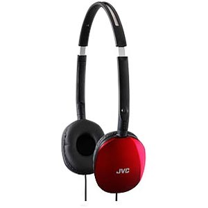JVC HA-S160 FLATS Headphone - Stereo - Red - Wired - 32 Ohm - 12 Hz 24 kHz - Gold Plated Connector - Over-the-head - Binau