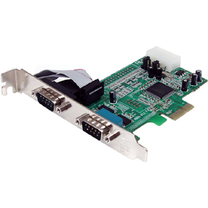 2 Port Native PCI Express RS232 Serial Adapter Card with 16550 UART - PCI Express - PC, Mac, Linux - 2 x Number of Serial
