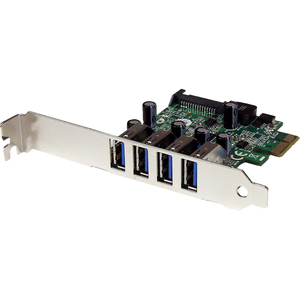 StarTech.com 4 Port PCI Express PCIe SuperSpeed USB 3.0 Controller Card Adapter with UASP - SATA Power - UASP Support - 4
