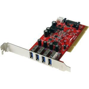 StarTech.com 4 Port PCI SuperSpeed USB 3.0 Adapter Card with SATA/SP4 Power - Quad Port PCI USB 3 Controller Card - 4 Tota