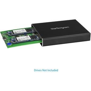 StarTech.com Caja de Dos Bahías M.2 NGFF - USB 3.1 (10Gbps) - RAID - Caja Externa USB-C y USB-A de Aluminio - M.2 - USB 3.