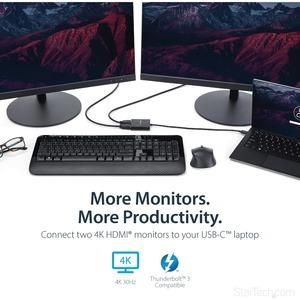 StarTech.com 2-Port Multi Monitor Adapter - USB-C to HDMI Video Splitter - USB Type-C to HDMI MST Hub - Thunderbolt 3 Comp