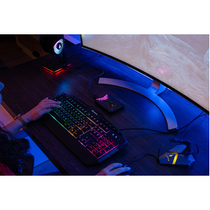 SUREFIRE KingPin Gaming Keyboard - Cable Connectivity - USB 2.0 Type A Interface - RGB LED - German - QWERTZ Layout - Memb