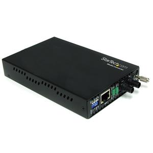 StarTech.com Transceiver/Media Converter - TAA Compliant - 2 Port(s) - 1 x Network (RJ-45) - 1 x ST - DuplexST Port - Twis