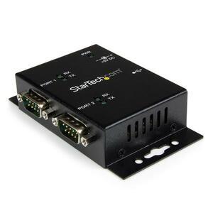 StarTech.com USB to Serial Adapter - 2 Port - Wall Mount - Din Rail Clips - Industrial - COM Port Retention - FTDI - DB9 -