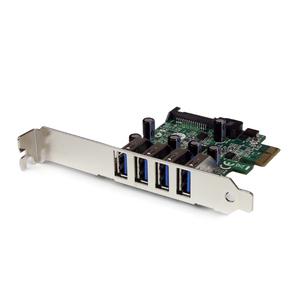 StarTech.com Tarjeta Adaptador PCI Express PCI-E USB 3.0 con UASP de 4 Puertos - Alimentación SATA - Soporte UASP - 4 Tota