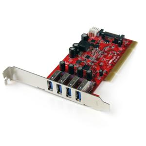 StarTech.com Tarjeta Adaptador PCI USB 3.0 SuperSpeed de 4 puertos con Conector LP4 SATA - Hub Concentrador Interno - 4 To