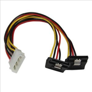 Adaptador Cable 30cm Divisor Molex 4 Pines LP4 a Doble SATA en Ángulo Derecho Cierre Seguridad StarTech.com PYO2LP4LSATR