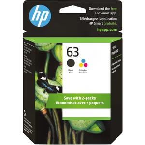 HP 63 Original Ink Cartridge - Black, Tri-color - Inkjet - 190 Pages Black, 160 Pages Tri-color - 2 / Pack