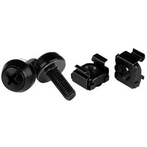 StarTech.com M5 x 12mm Screws and Cage Nuts - 100 Pack - M5 Mounting Screws and Cage Nuts for Server Rack and Cabinet - Bl