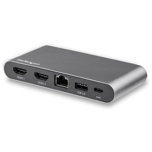 StarTech.com USB C Dock - 4K Dual Monitor HDMI USB-C Docking Station - 100W Power Delivery Passthrough, GbE, 2x USB-A - Mu