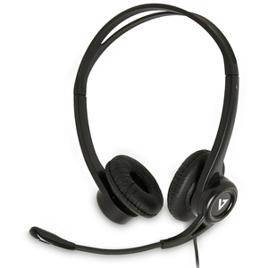 V7 HU311-2EP Wired Over-the-head Stereo Headset - Black - Binaural - Supra-aural - 32 Ohm - 20 Hz to 20 kHz - 180 cm Cable