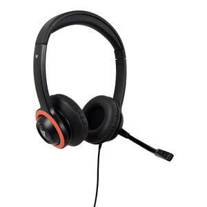 V7 HU540E Wired Over-the-head Stereo Headset - Black, Red - Binaural - Supra-aural - 32 Ohm - 200 cm Cable - Noise Cancell