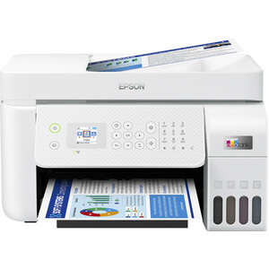 Epson EcoTank L5296 Wireless Inkjet Multifunction Printer - Colour - White - Copier/Fax/Printer/Scanner - 33 ppm Mono/15 p
