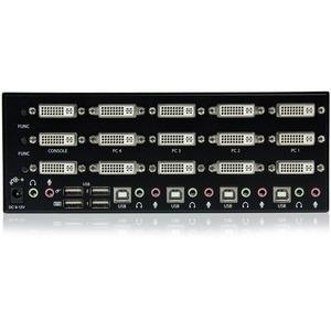 StarTech.com 4 Port Triple Monitor DVI USB KVM Switch with Audio & USB 2.0 Hub - Multi Monitor KVM - USB DVI KVM Switch -