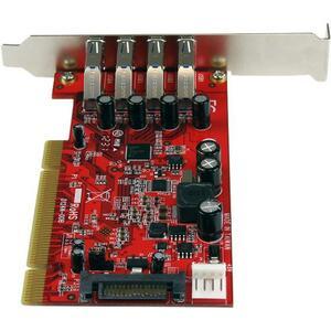 StarTech.com Scheda adattatore USB 3.0 SuperSpeed PCI a 4 porte con alimentazione SATA/SP4 - 4 Total USB Port(s) - 4 USB 3