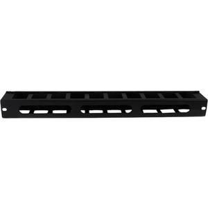 StarTech.com Panel Canaleta Horizontal de 1U con Cubierta para Gestión de Cableado en Racks y Perforaciones Laterales - 1U