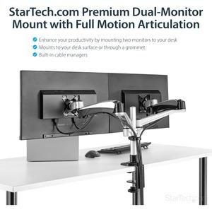 StarTech.com Soporte para Dos Monitores con Brazos Móviles - Apilable - Brazos Intercambiables con Ajuste de Altura por Mu