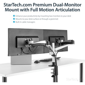"StarTech.com Dual Monitor Stand - Tool-less Assembly - Monitors up to 30"" - VESA Mount - Adjustable Monitor Arm - 2 Displa"
