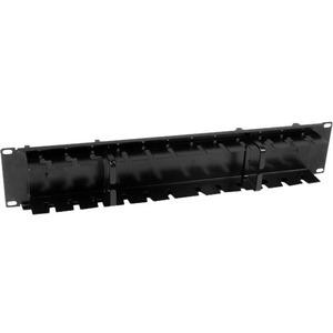 "StarTech.com CMPNL2U Cable Management Panel - Black - 1 Pack - TAA Compliant - 2U Height - 19"" Width - Steel"