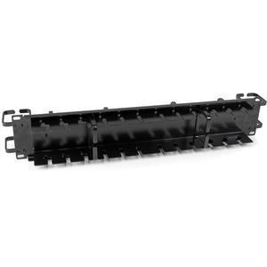 "StarTech.com CMPNL2UC Cable Management Panel - Black - 1 Pack - TAA Compliant - 2U Height - 19"" Width - Steel"