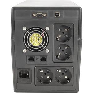 Digitus Line-interactive UPS - 1 kVA/600 W - Compact - 8 Hour Recharge - 230 V AC Input - 230 V AC Output - 4 x Schuko CEE