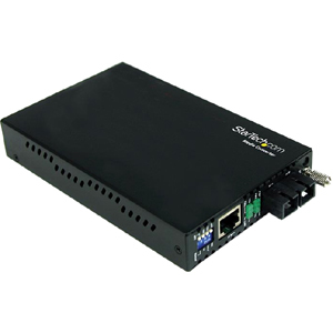 StarTech.com Transceiver/Media Converter - TAA Compliant - 2 Port(s) - 1 x Network (RJ-45) - 1 x SC - Duplex SC Port - Twi